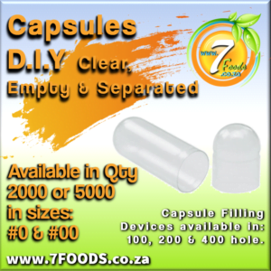 Capsules – Clear, Empty, Separated – Size # 0 Qty 1000